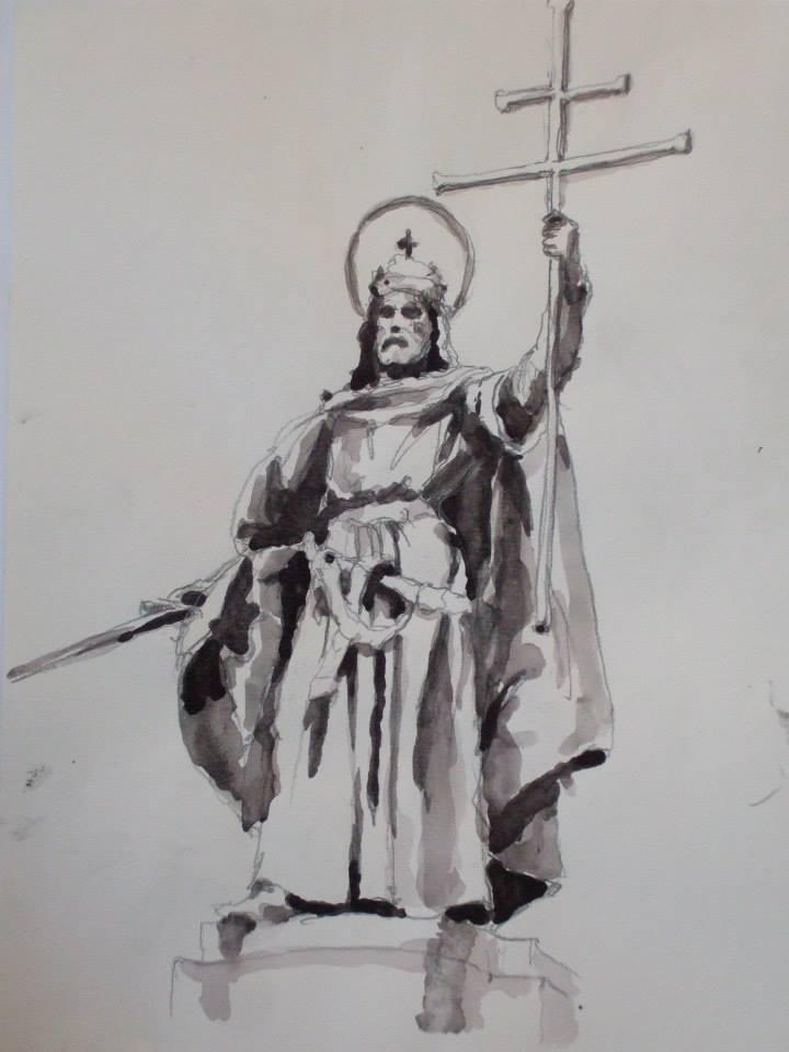 crayon et jus de gouache d\'après la statue d\'Étienne Ier ou Saint Étienne1 fondateur du royaume de Hongrie