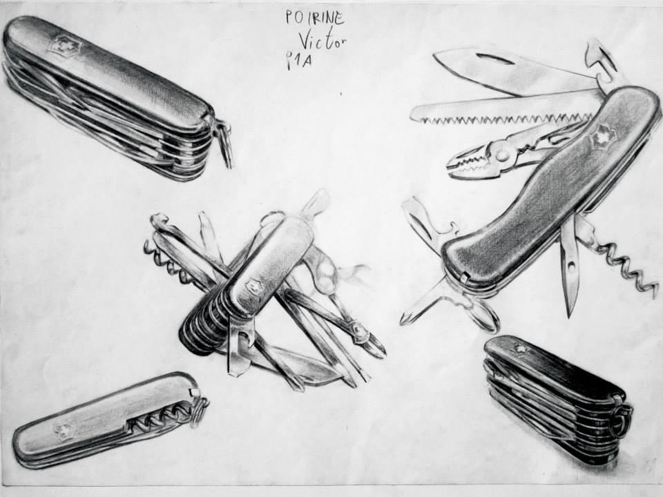 étude de couteaux Suisses