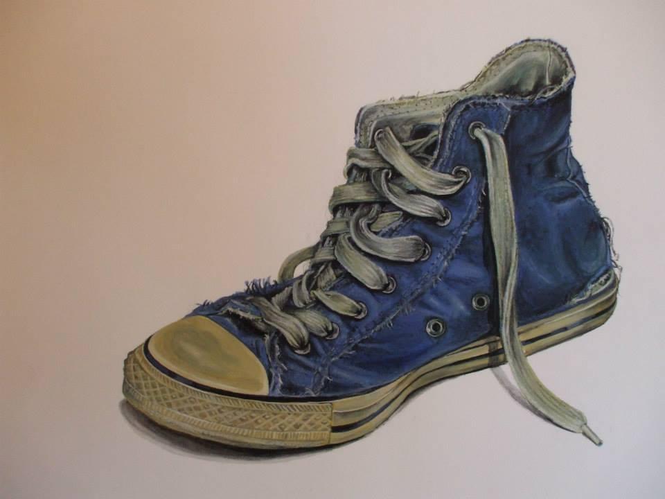 peinture à la gouache d'une chaussure