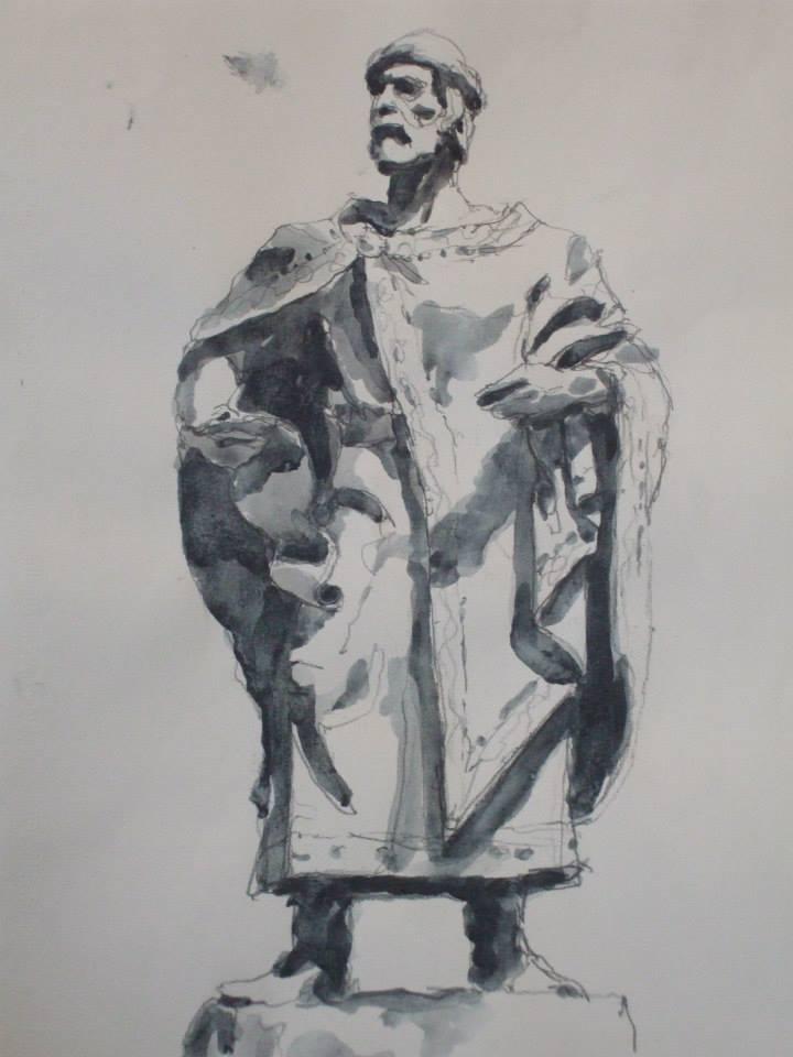 crayon et jus de gouache d\'après une statue de Yaroslaw le sage d\'Ukraine