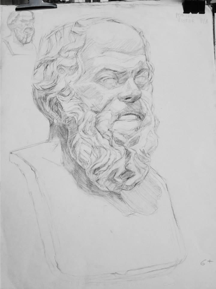 Buste de Socrate, fusain 3h30