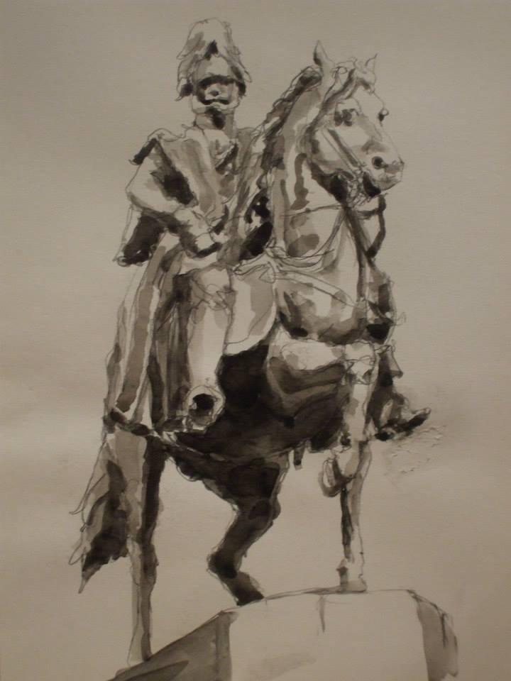 crayon et jus de gouache d\'après une statue de William I, premier empereur de Germanievendu