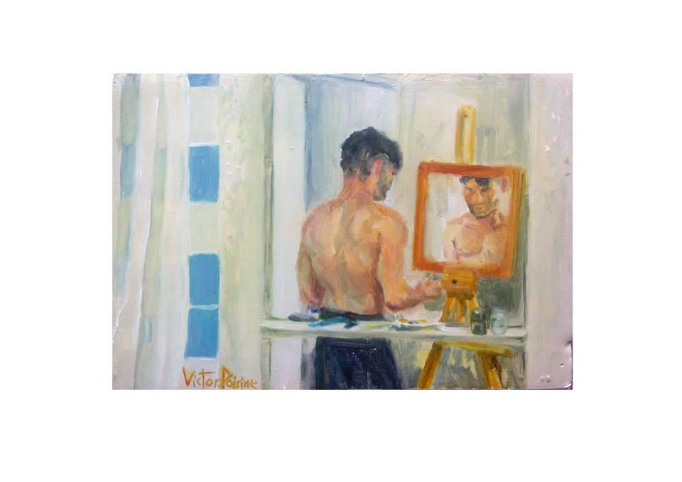 Mon dos, peinture à l'huile sur carton13x18,8cm