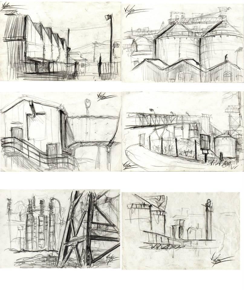 pages de mon carnet de croquis : usine Solvay3ème croquis de la colonne de gauche en partant du haut : vendu