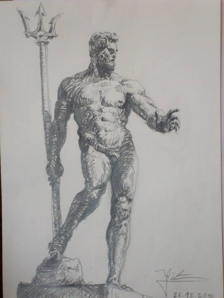 dessin d\'une statue du Poséidon de la fontaine de Bologne vendu