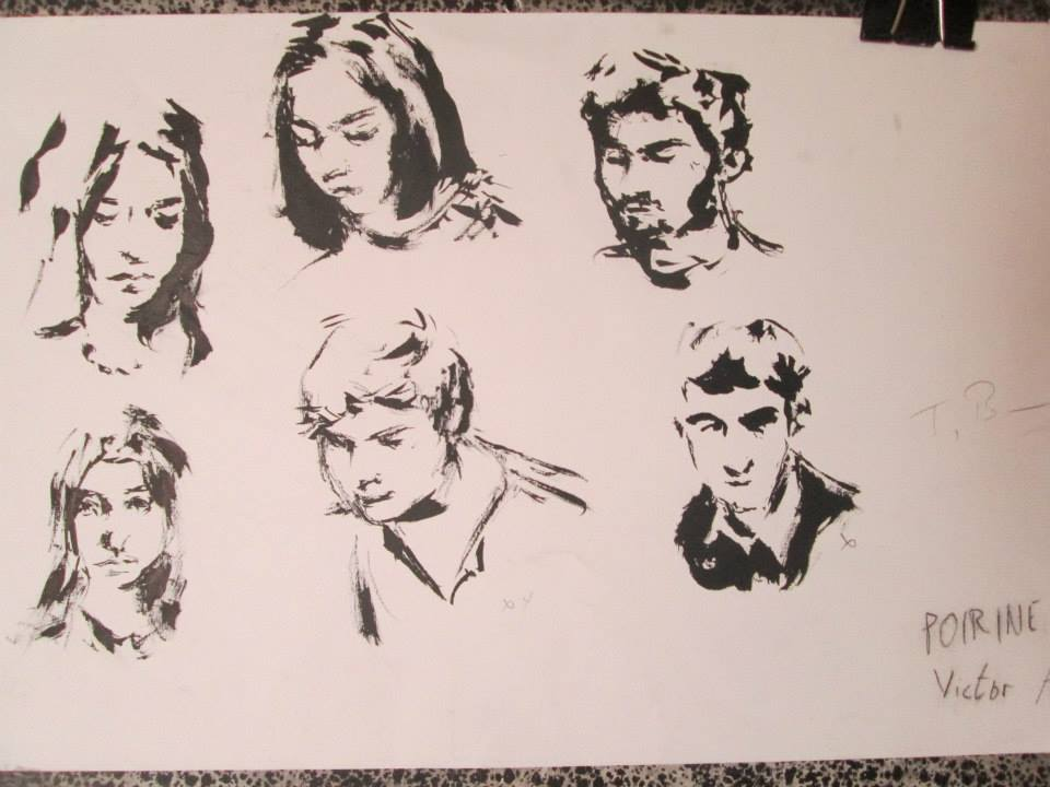 portraits au pinceau et encre de chine, 2 ou 5 minute le portrait