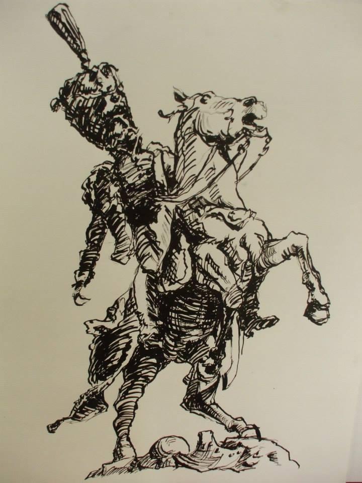dessin directement réalisé à l\'encre de chine. Statue du général Lasalle à Lunéville