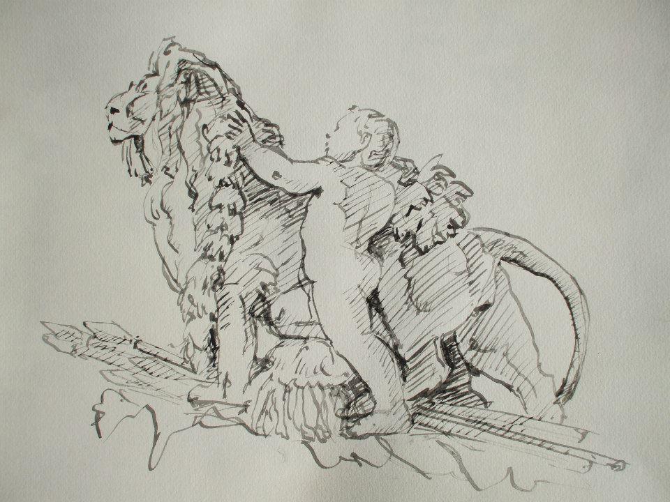 croquis à la plume d\'une statue du pont Alexandre III à Paris