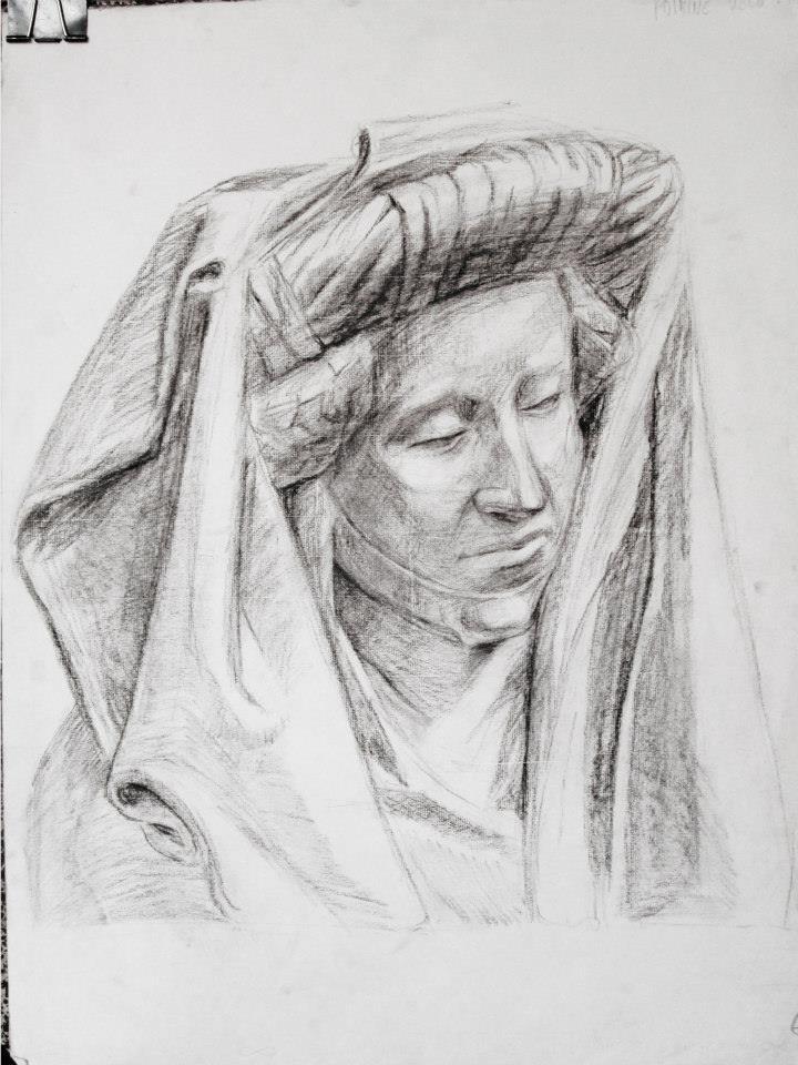 plâtre de Marie Madeleine, 3h30 (fusain)