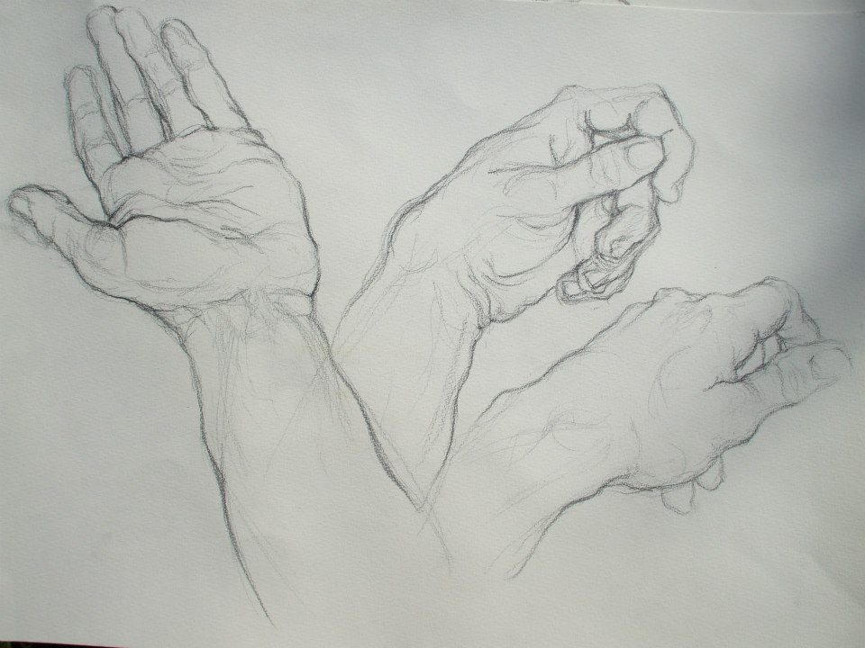 planche d\'étude de 3 mains