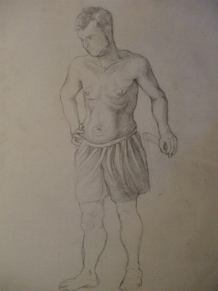 étude d\'un homme debout, travail sur le sens des ombres par rapport au sens des volumes et de la lumière