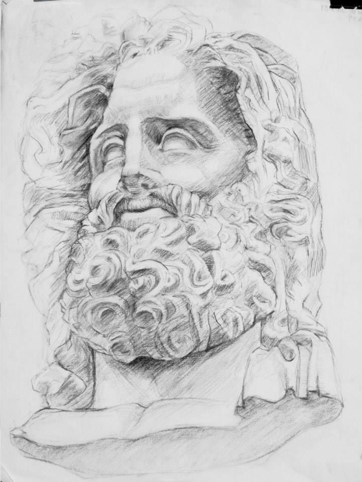 plâtre non fini de Neptune au fusain