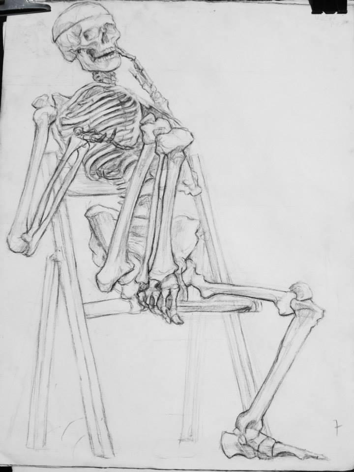étude de squelette au fusain, 3h30