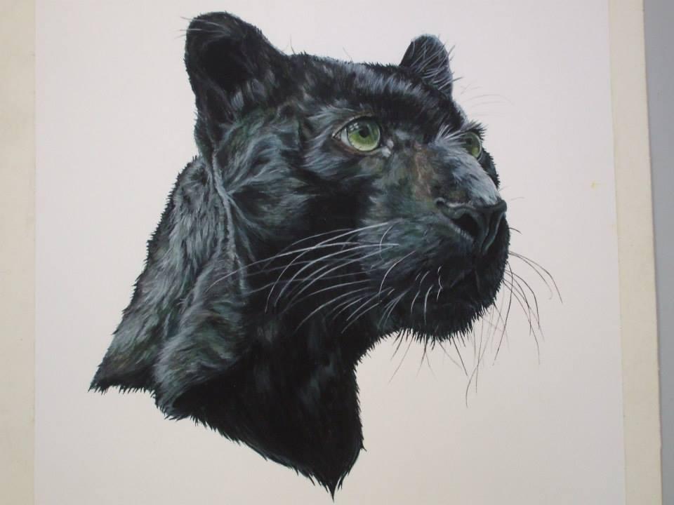 peinture à la gouache d'une tête de panthère