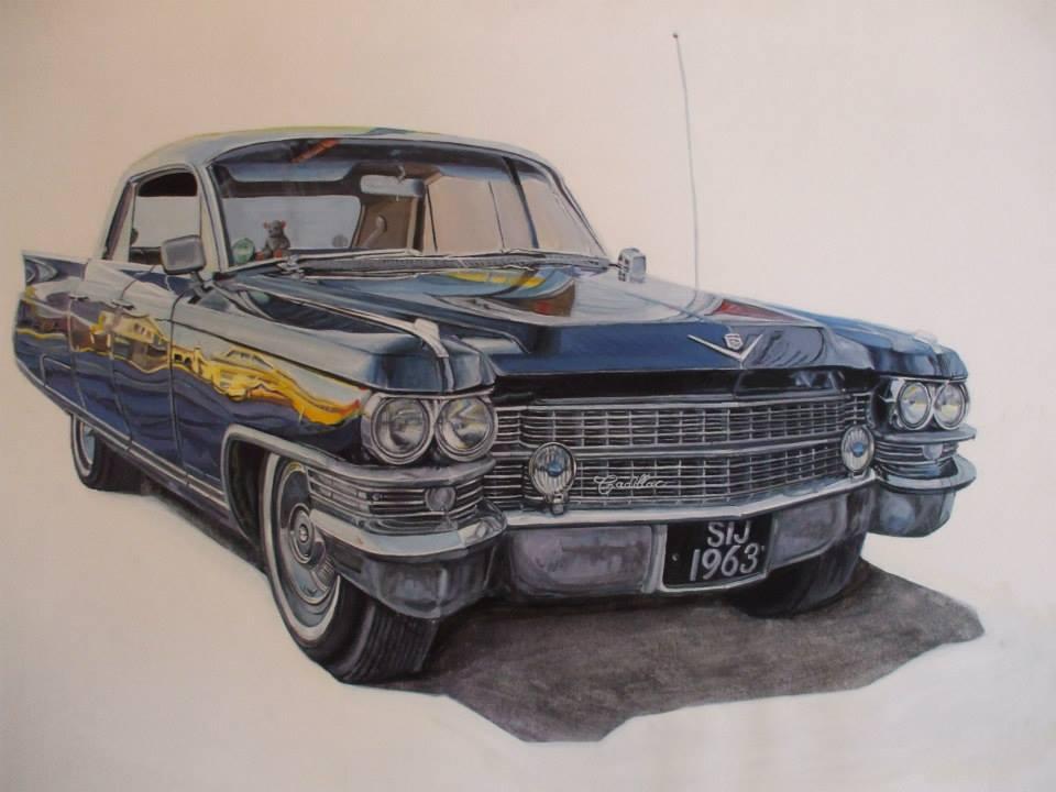 Cadillac bleue à la gouache vendue