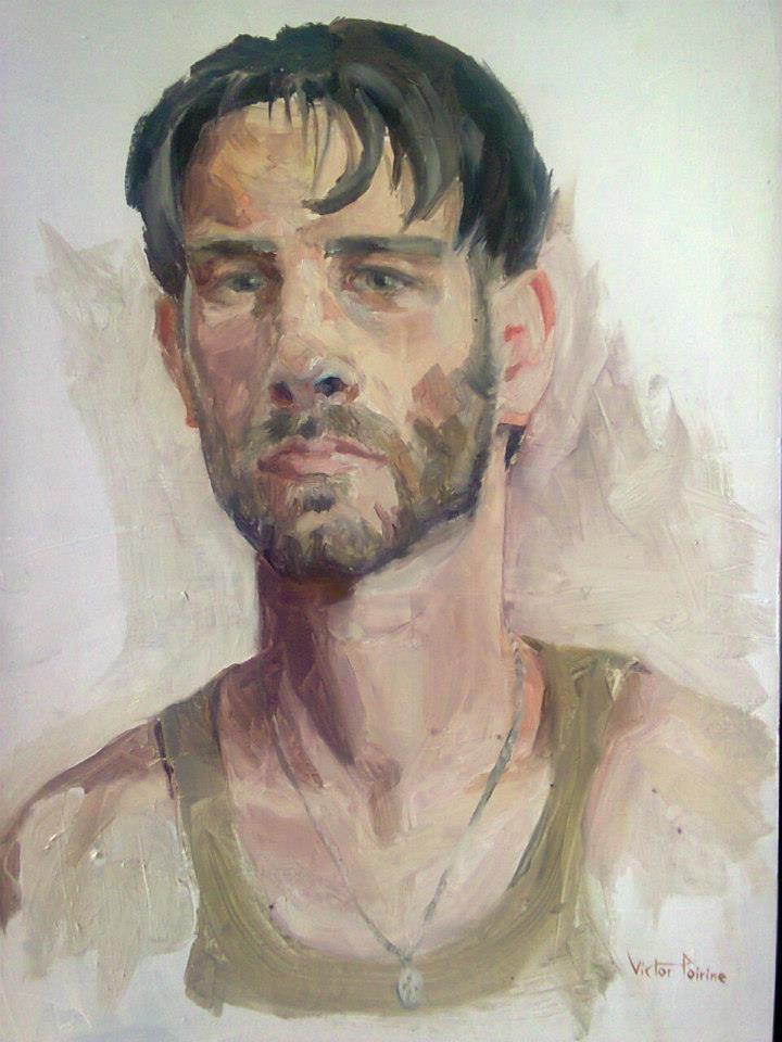 autoportrait à l'huile sur papier cartonné 44,7x32,3cm