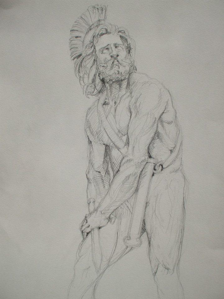 dessin d\'après la statue de Philopoemen au Louvre