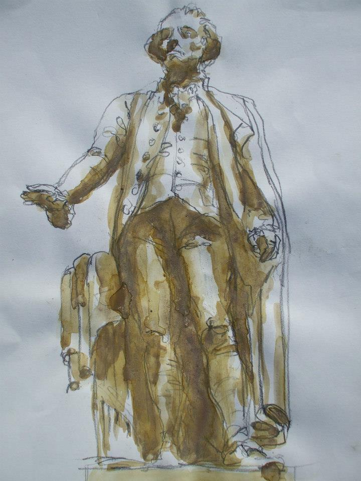 croquis crayon et lavis de gouache de la statue de George Washington