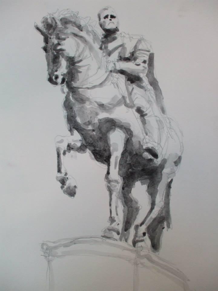 dessin et lavis de gouache d\'après la statue de Cosimo de Medici