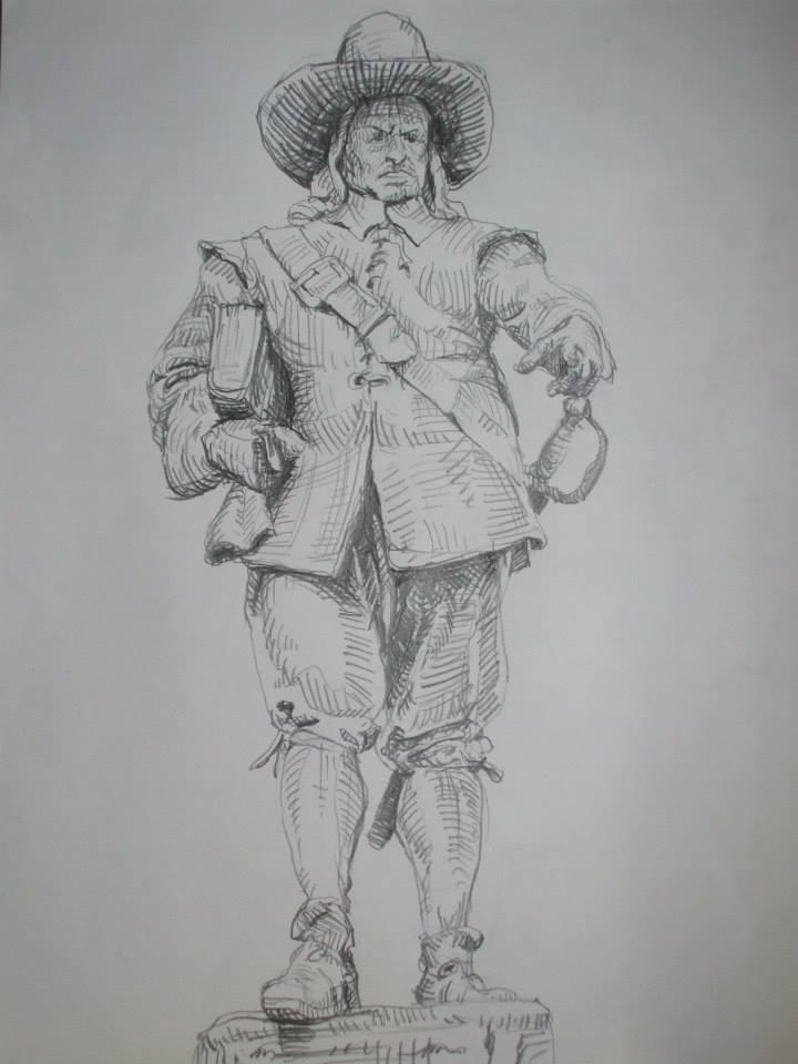 dessin d\'après la statue d\'Oliver Cromwel