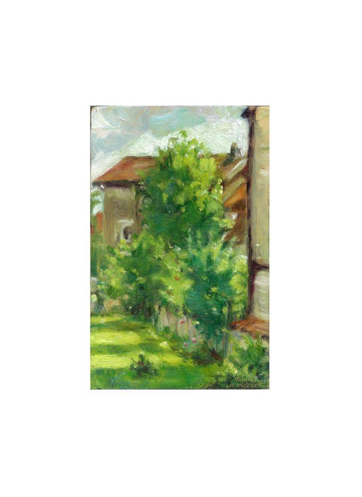 le jardin de ma maman, huile sur carton10,6X16,8 cm