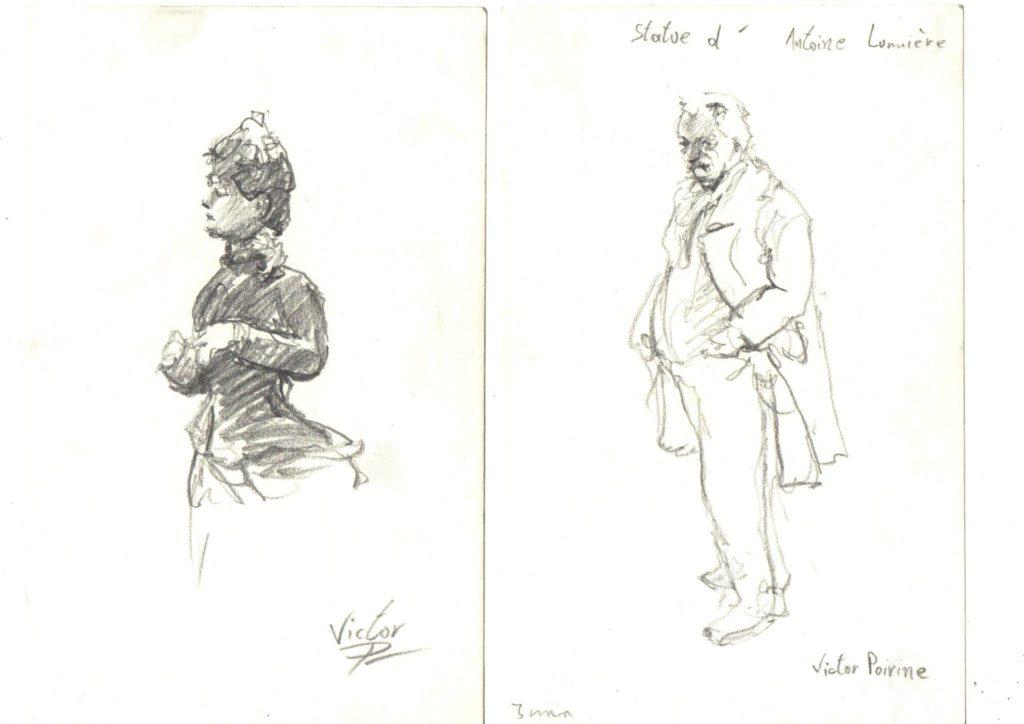 dessins d\'après une peinture de maître et d\'après une statue dans le musée Carnavalet