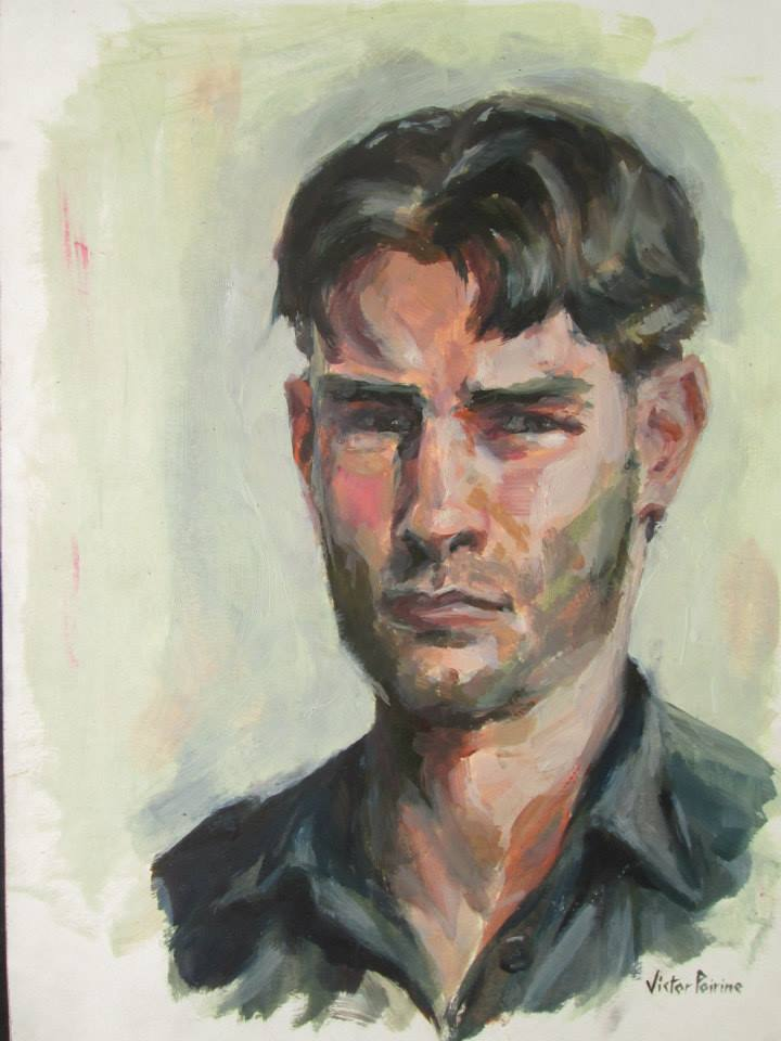 autoportrait à l'huile sur papier cartonné29,7x45,7cm