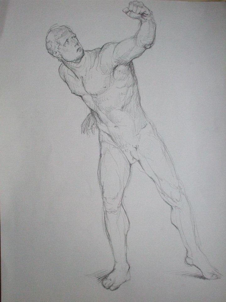 dessin d\'après une statue de gladiateur au Louvre
