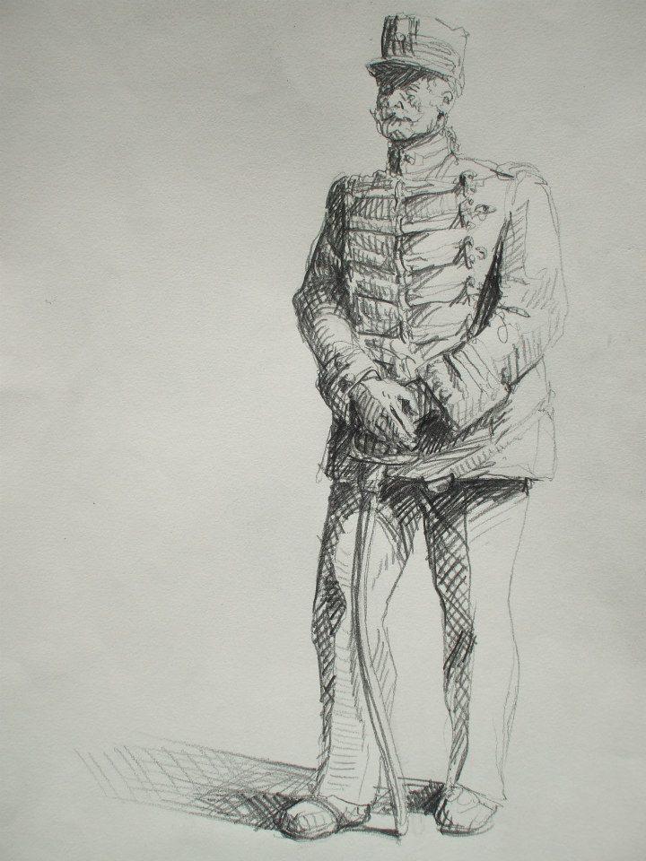 croquis d\'une statue de général