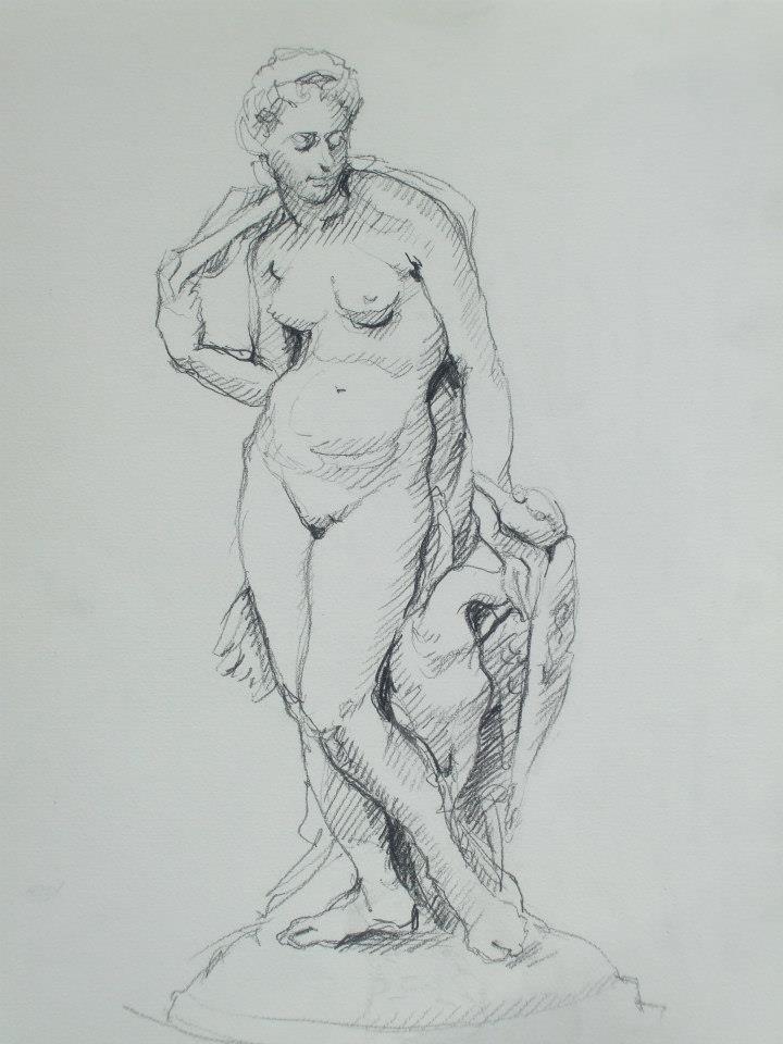 croquis d\'une statue de marbre blanc
