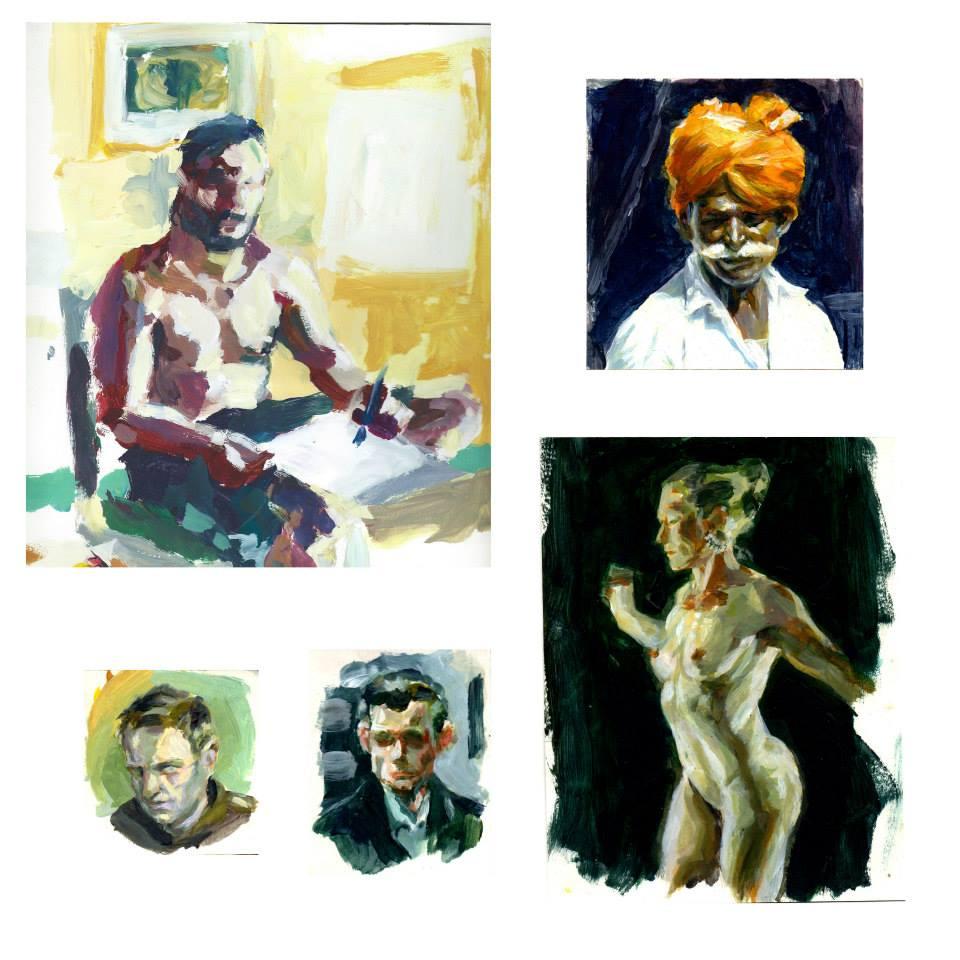autoportrait, gouache sur papier cartonné 25x23,5cm, indien, acrylique sur papier cartonné12x12,8cm,petits portraits acrylique sur papier cartonné 11x8,5cm et 8x8cm,femme nue, acrylique sur papier cartonné 15,5x20,2cm