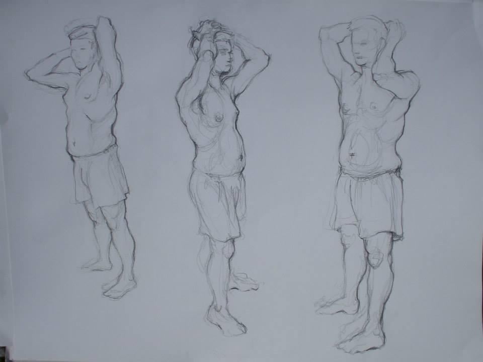 étude de poses en croquis vers les minutes pour chaque pose, le tout sur format raisin. J\'essayais une nouvelle méthode alors il y a des erreurs de proportion ou d\'encrage au sol