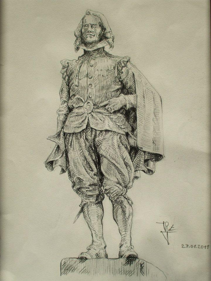 dessin d\'après le monument à Quevedo (Madrid)