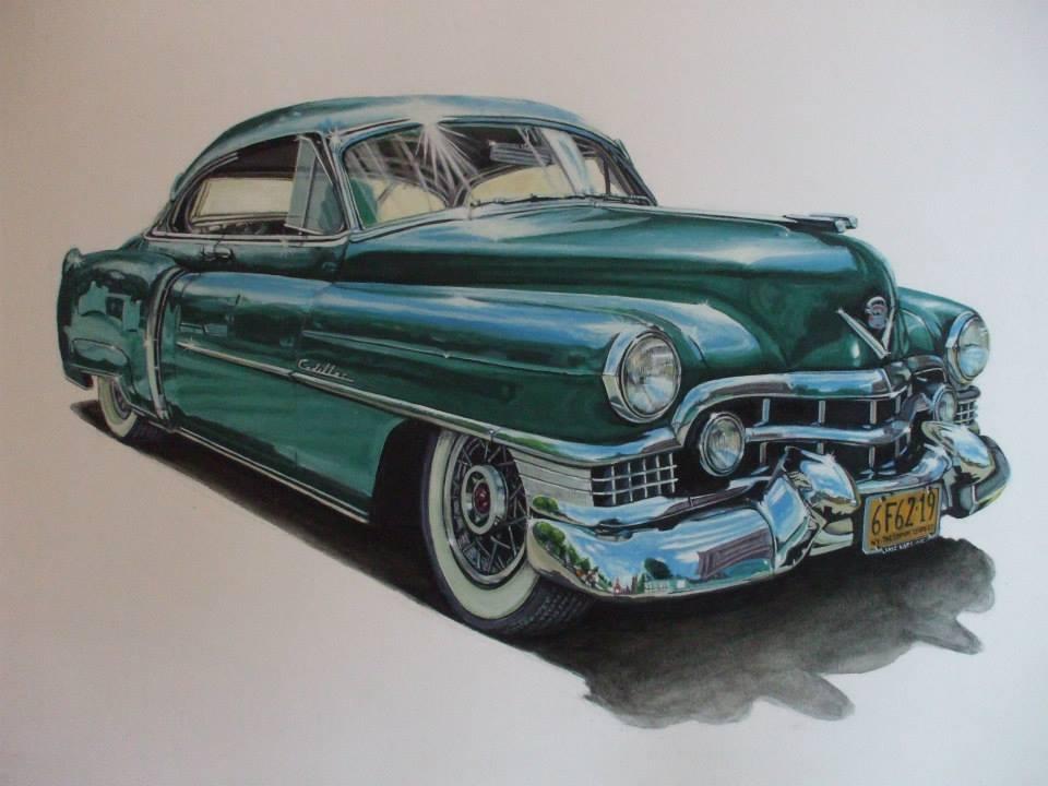 Cadillac verte à la gouache42,7x29,9cm
