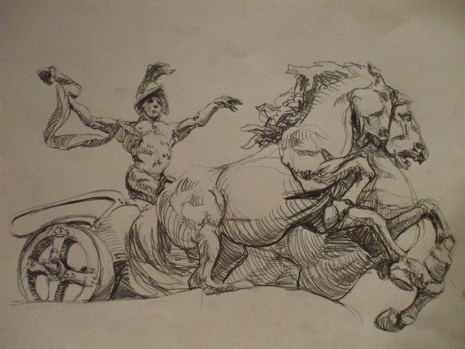 dessin d\'après le gladiateur de la colonnade sur la place des Héros, à Budapest.