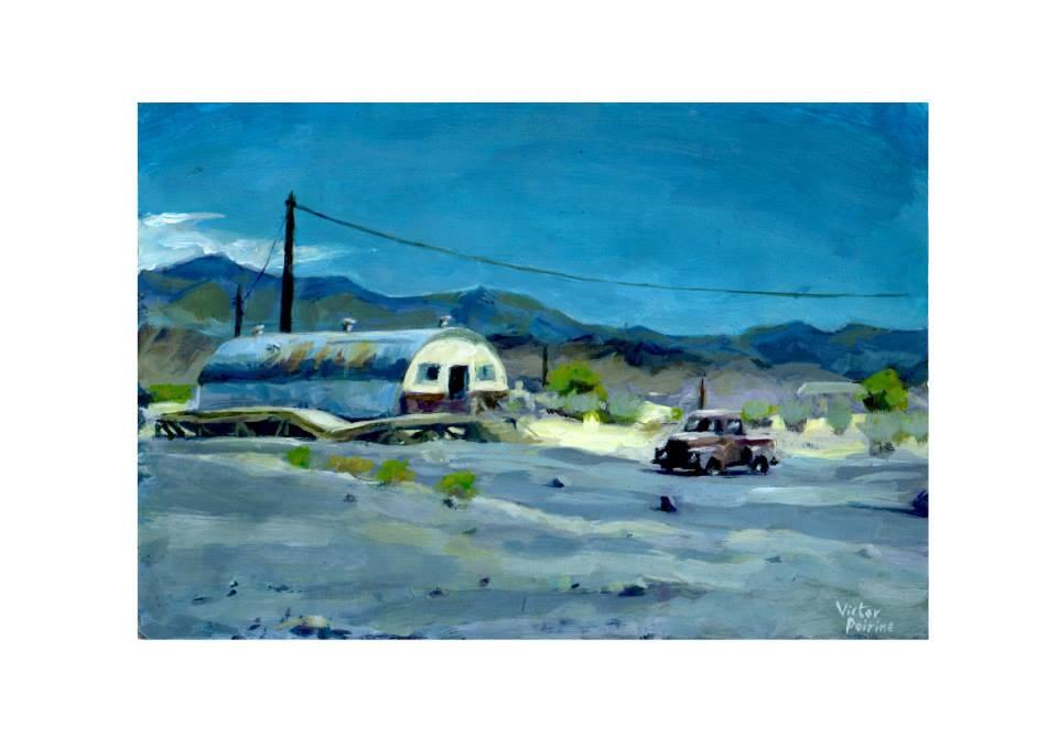 Voiture et paysage désertique. petite peinture acrylique sur papier cartonné22x15,2cm