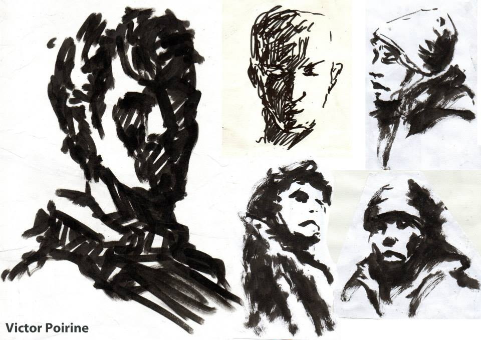 portraits croqués au marquer d\'amis et de gens dans le métro