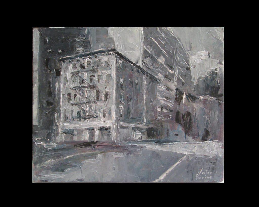 Rue monochrome. expérimentation au couteauhuile sur carton, 18,4X14,8cm