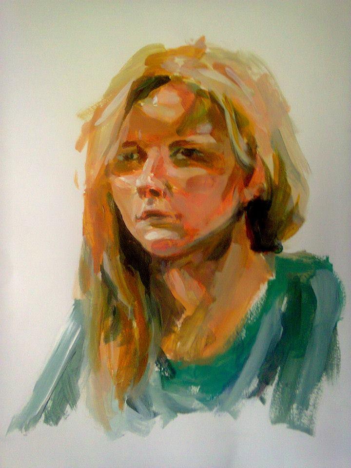 portrait d'Aline à l'acrylique sur papier réalisé en 25 minutes32,3x49,8cm
