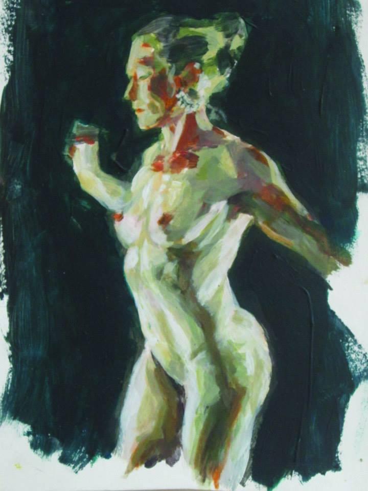danseuse nue, acrylique sur papier cartonné 15,5x20,2cm