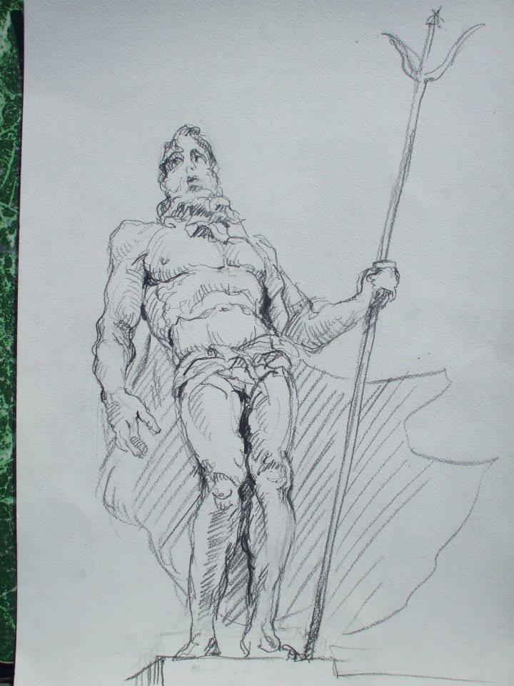 croquis d\'une statue de Neptune
