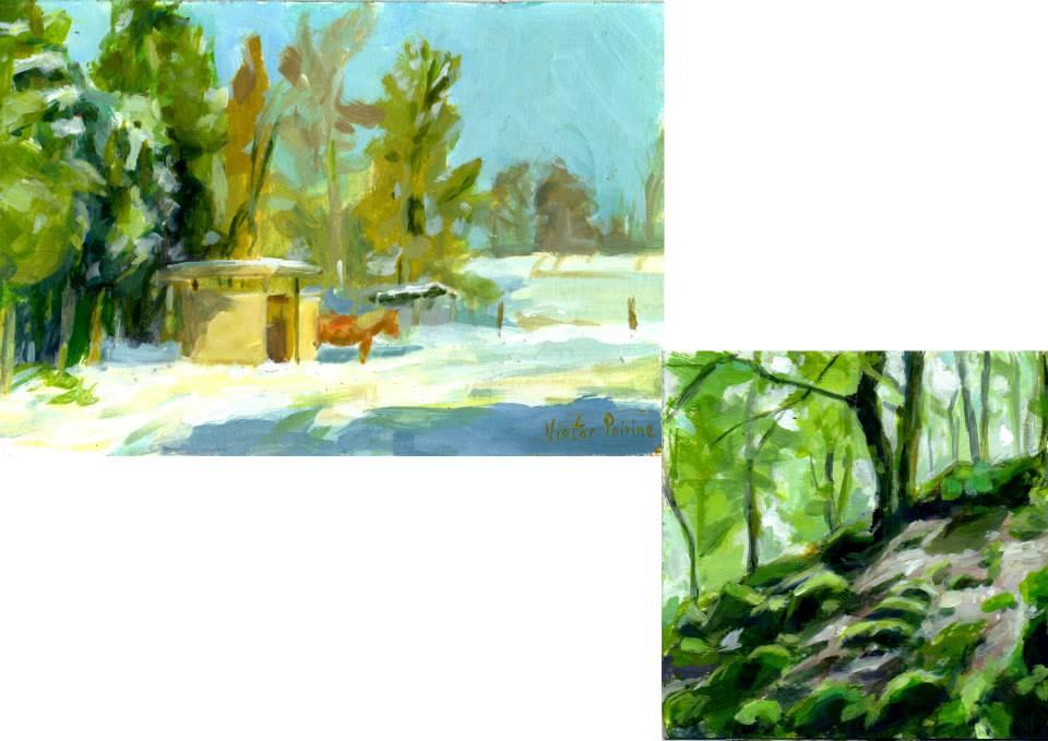 petites peintures acrylique sur papier cartonné13x19cm11x9,1cm