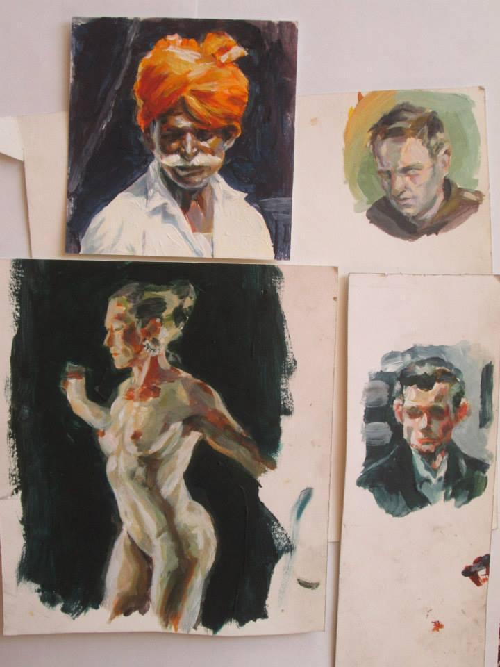 indien, acrylique sur papier cartonné12x12,8cm,petits portraits acrylique sur papier cartonné 11x8,5cm et 8x8cm,femme nue, acrylique sur papier cartonné 15,5x20,2cm