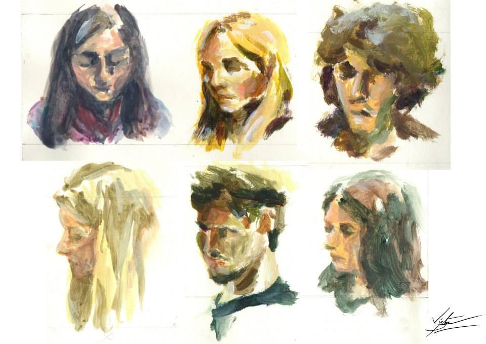 petits portraits d'école à la gouache et à acrylique