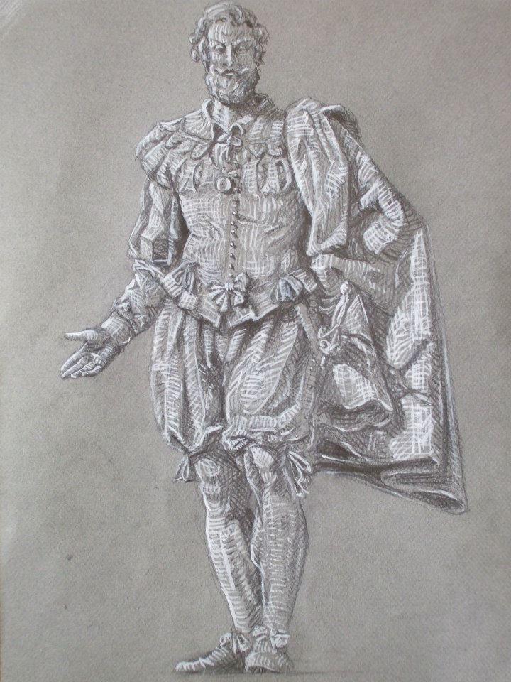 dessin d\'une statue sur papier coloré avec rehauts de blanc