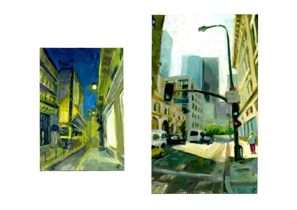 petites peintures acrylique sur papier cartonné8,3x12,2cm   10,7x18cm
