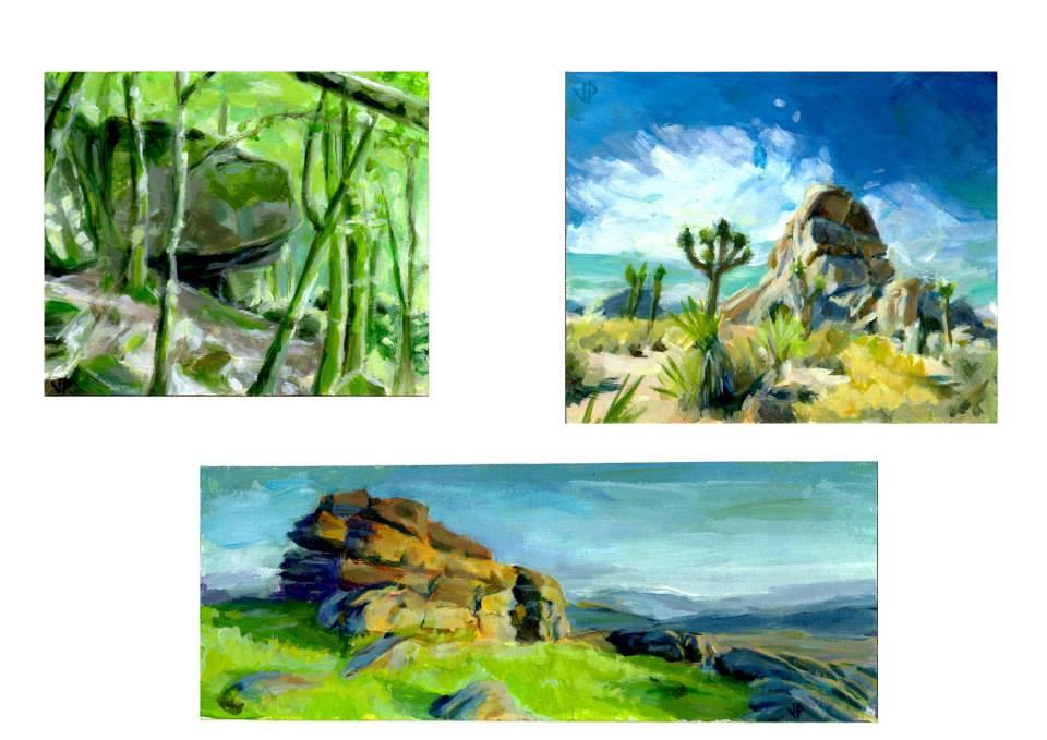 petites peintures acrylique sur papier cartonné 11x11cm  12,2x10cm19,2x7,2cm
