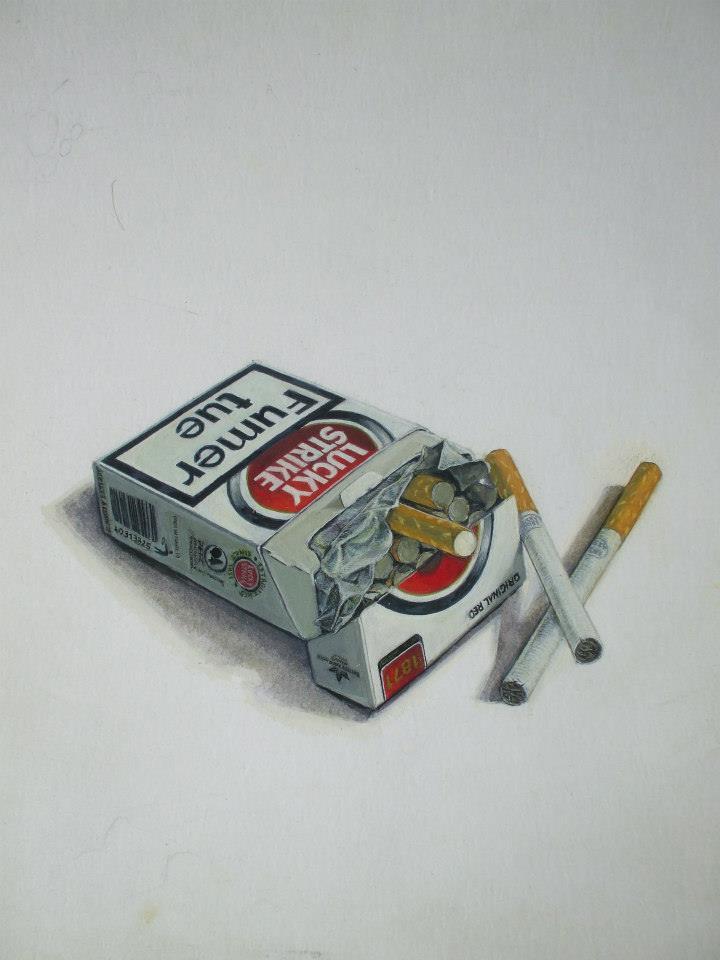 peinture d'un paquet de cigarettes lucky strikegouache