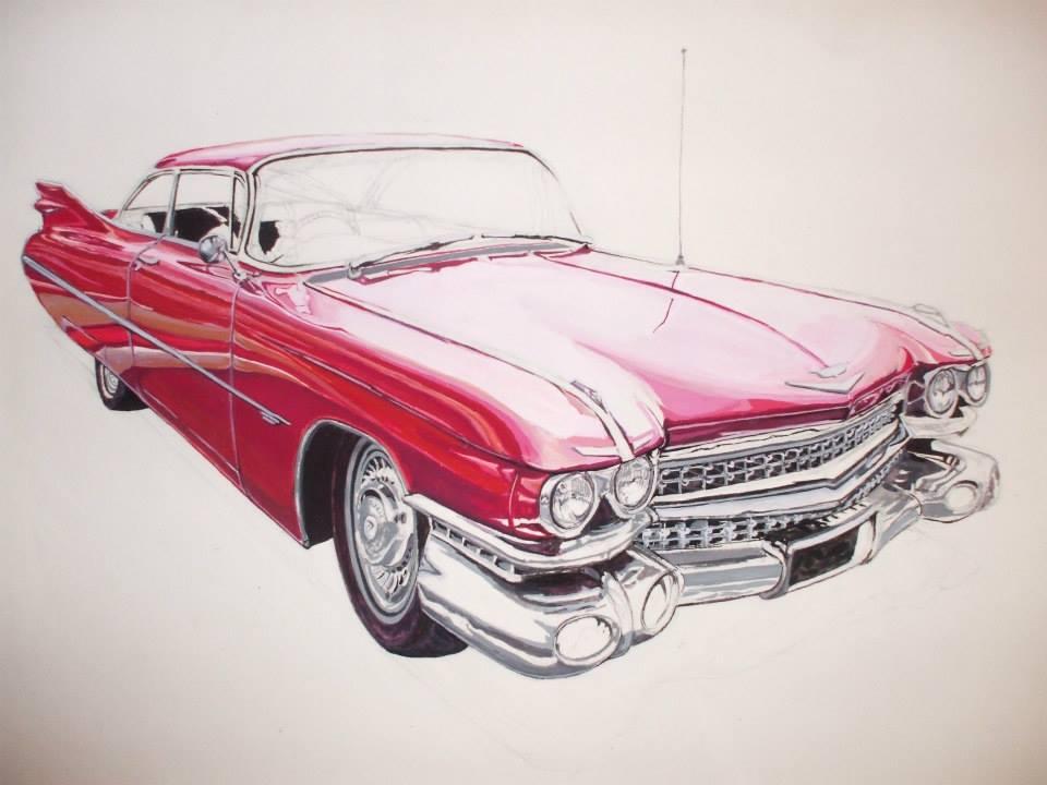 Cadillac rouge à la gouache (non fini)40,5x30cm