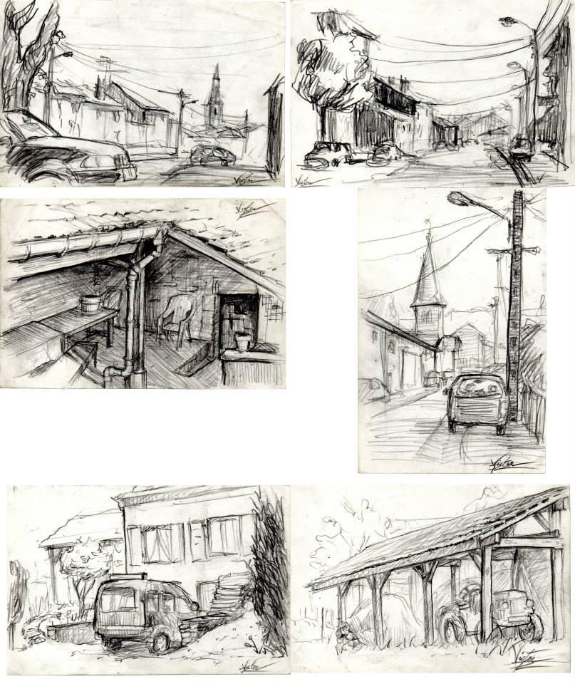 pages de mon carnet de croquis : village Lorrainles 2 du bas sont vendus
